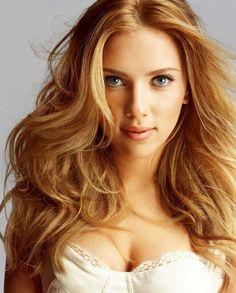 Scarlett Johansson's warm dark blonde hair colour. http://beautyeditor.ca/2014/11/13/blonde-for-pale-skin