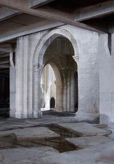 Noemie Goudal. @noemiegoudal on Instagram Industrial Architecture, Minimalist Architecture, Architecture Old, Industrial Loft, Concrete Interiors, Concrete Forms, Carlo Scarpa, Le Corbusier, Interior Inspiration