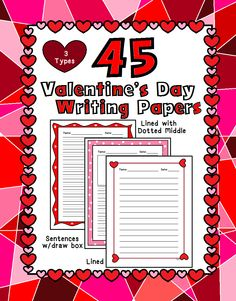 Here you have 45 different Valentine's Day themed paper for writing, Good for writing workshop or the writing center. Comes in 3 types: Lined paper with the dotted line in the middle (K-2), Lined paper with dotted middle and a large drawing area at the top (K-2) and regular lined paper (3rd - above).