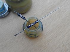 Double Dabber 2 pc Peyote Stitch Matching Set (Black Gold White) Honeycomb Design