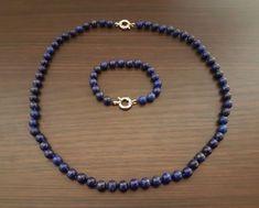 "LAYDY ""L"" - dámsky set (náhrdelník + náramok) drahokam: Lápis Lazuli, striebro Lapis Lazuli, Beaded Necklace, Atlanta, Jewelry, Beaded Collar, Jewlery, Pearl Necklace, Jewerly, Schmuck"