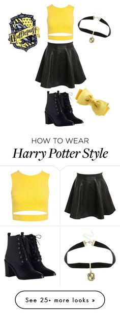 """""""Hufflepuff Uniform"""" by nightwing-is-bae on Polyvore featuring Sans Souci, Pilot, Warner Bros. and Zimmermann"""