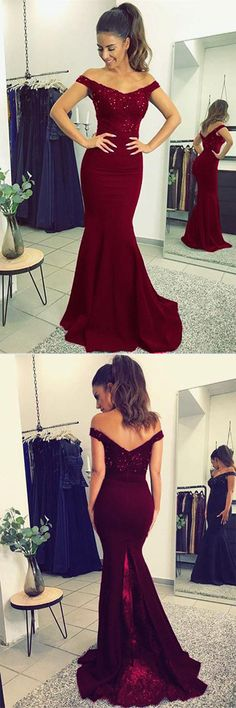 Fabulous Burgundy Mermaid Lace V-neck Long Prom Dresses with Beading #Prom #Promdresses #Burgundy #Mermaid