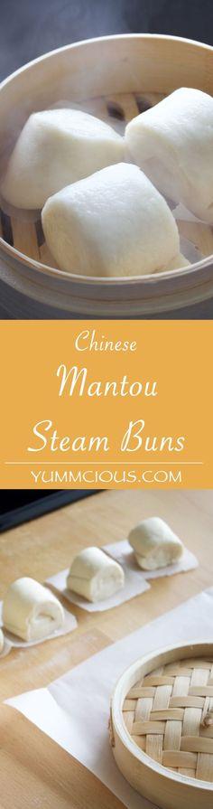 Chinese Bun Recipe (MANTOU RECIPE) http://yummcious.com/chinese-bread-recipe-mantou-recipe/ #chinesefoodrecipes
