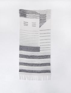 Hannah Waldron 4 shaft loom hand weaving  Wall hanging exploring structure and form within the 4 shaft loom hand weaving process, with an emphasis on combining weft faced weaving and balanced weave. Compositional elements are taken from studies of the language of flags.
