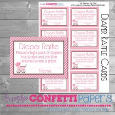 Diaper Raffle Cards Carriage Diaper Raffle by PurpleConfettiPapers, $5.00