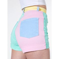 American Apparel - Color Block Stretch Bull Denim High-Waist Cuff Short I own these there my favorite shorts! Teen Fashion Outfits, Mode Outfits, Retro Outfits, Cute Casual Outfits, Girl Outfits, Grunge Outfits, Pastel Fashion, Kawaii Fashion, Cute Fashion