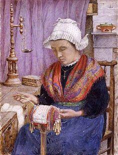 Dentellière de Savoie. en 1909 de Estella CANZIANI(anglaise 1887 - 1964) Birmingham Museums and Art Gallery - ANGLETERRE
