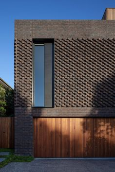 Intricate brick work on front facade of North Balwyn home, designed by matyas architects, photo by Tatjana Plitt Brick Cladding, Brick Facade, Brickwork, Facade House, Melbourne Architecture, Brick Architecture, Residential Architecture, Contemporary Architecture, Brick Design