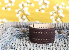 Brown cuff with cutouts...MADE TO ORDER by farmgirlpaints on Etsy