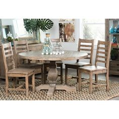 Kasey Reclaimed Wood Natural 55-inch Round Dining Table by Kosas Home