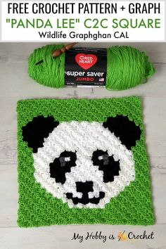 Cute Panda Lee is the Square in the Wildlife Graphghan CAL. Get the fre… Cute Panda Lee is the Square in the Wildlife Graphghan CAL. Get the free pattern – written instructions + Graph on My… Continue Reading → Crochet C2c Pattern, Crochet Chart, Crochet Squares, Crochet Blanket Patterns, Free Crochet, Knitting Patterns, Free Pattern, Pixel Crochet Blanket, Afghan Patterns