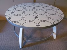 Round Coffee Table stenciled with circles