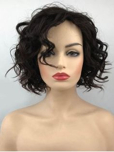 Short Inclined Bang Wavy Cpaless Synthetic Wig 98de71f63