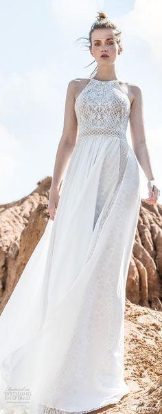 limor rosen 2018 bridal sleeveless halter neck heavily embellished lace bodice flowy skirt romantic bohemian a line wedding dress open back short train (whitney) mv -- Limor Rosen 2018 Wedding Dresses