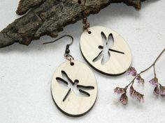 Wood earringsDragonfly earringsCut woodWooden by WoodenDecorate, $15.00