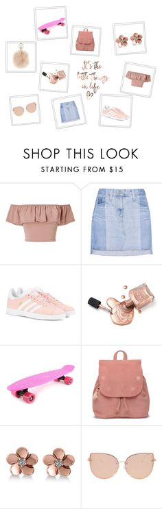 """Rose Gold"" by clairerose44 on Polyvore featuring Miss Selfridge, AG Adriano Goldschmied, adidas Originals, Retrò, TOMS, Allurez, Topshop, Furla, classy and rosegold"