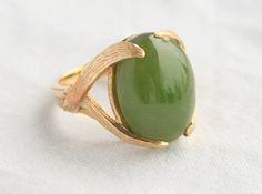 Jade 14k Gold Ring Vintage Estate Ring by CamanoIslandVintage #ecochic #vintage #jewelry