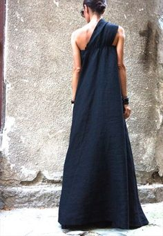 MAXI DRESS / BLACK KAFTAN LINEN DRESS / PARTY DRESS B03144