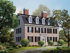 <ul><li>This Federal-style home plan is beautiful in its simplicity, with lintels above the windows and a row of dormers lining the side-gabled roof.  </li><li>The interior is a traditional center-hall layout, with formal rooms toward the front and more relaxed spaces in the back.  </li><li>A U-shaped kitchen serves both the dining room and the circular breakfast room.  </li><li>Three fireplaces warm the rooms on the first floor, while a fourth hearth warms the master bedroom upstairs…