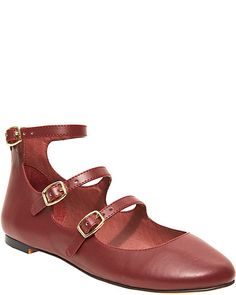 Oxblood Mary Janes with a few extra straps - Betsey Johnson, of course.