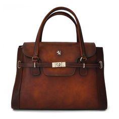 01486c8df6 Attavanti - Pratesi Baratti Aged Italian Leather Grab bag - Mid Brown