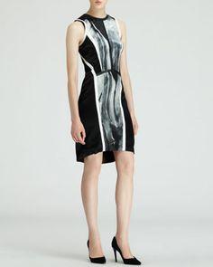 Sleeveless Silver-Print Dress by Helmut Lang at Bergdorf Goodman.