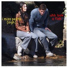 Haha! I can't tell if Gale is doing that on purpose (because Katniss is talking about Peeta), or his hunting abilities got the better of him.