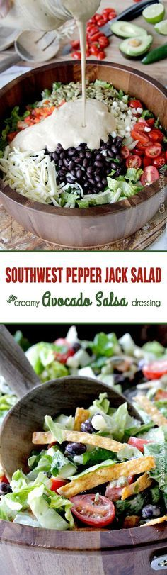 Such a great salad recipe! Southwest Pepper Jack Salad with Creamy Avocado Salsa… Such a great salad recipe! Southwest Pepper Jack Salad with Creamy Avocado Salsa Dressing Mexican Food Recipes, Vegetarian Recipes, Cooking Recipes, Healthy Recipes, Mexican Salads, Ethnic Recipes, I Love Food, Good Food, Yummy Food