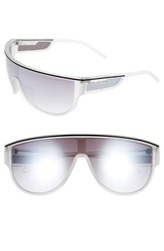 Marc Jacobs Mirrored Shield Sunglasses In Silver Cystal/ Grey Marc Jacobs Sunglasses, Sun Protection, Black Silver, Mirror, Lens, Grey, Number, Free Shipping