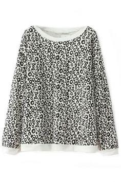 Black White Leopard Print Sweatshirt