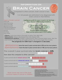Brain Cancer Infographic   One day I pray there is a cure.... GBM is hard non the person and hard on the family
