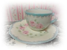 Large Cup with Vintage Plate Saucer Hand by CelestinaMarieDesign, $32.00