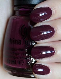 Nail polish of the week: China Glaze Purr-fect Plum (from the On Safari Collection). These are not my nails. This one is GORGEOUS.