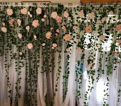Paper Flower and Tissue Paper Puff Garland and - Paper Flower Backdrop Wedding Flower Wall Backdrop, Floral Backdrop, Wall Backdrops, Wedding Backdrops, Tulle Backdrop, Rustic Backdrop, Backdrop Ideas, Backdrop Decorations, Flower Decorations