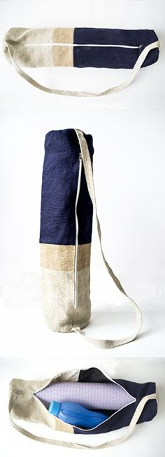 Amore Beaute Handmade Yoga Mat Bag -Yoga Mat Sling Bag - Navy Natural Ivory Burlap Yoga Bag- Yoga Backpack- Yoga Accessories - Exercise Bag - Gift Bag in Jute - Manduka Mat Bag