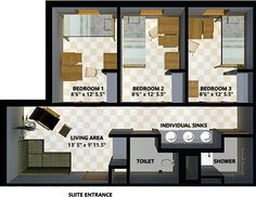 Three-Bedroom Suite - The New Freshman Residence Hall - UT Dallas