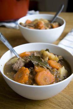 Good mood food Irish stew. Ingredients: wholemeal flour, black pepper, lamb shoulder, oil, carrots, onions, lamb or beef stock, salt, bay leaves, potatoes, parsley. Recipe from Donal Skehan.