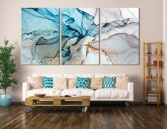 Large Marble Art Marble Canvas Print Beautiful Abstract Art Set of 3 Panels Large Canvas Art, Abstract Canvas, Canvas Wall Art, Canvas Prints, Blue Abstract, Panel Wall Art, Diy Canvas, Modern Wall Decor, Diy Wall Decor
