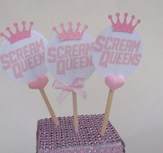 8 Scream Queen Pink Crowns Hearts Cupcake Toppers Birthday Party Food Picks  #birthday