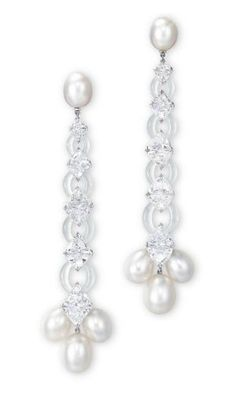 A PAIR OF NATURAL PEARL, DIAMOND AND JADEITE EAR PENDANTS