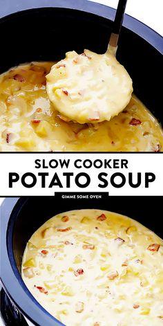 Cooker Potato Soup Slow Cooker Potato Soup -- so delicious, and made extra-easy in the crock pot! Slow Cooker Potato Soup, Crock Pot Potatoes, Crock Pot Slow Cooker, Easy Potato Soup, Crock Pots, Baked Potatoes, Recipe For Potato Soup, Crockpot Baked Potato Soup, Potato Food
