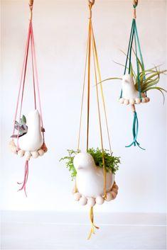 DIY nesting birds hanging planters