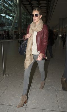 Rosie Huntington-Whiteley in oxblood leather jacket
