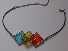 Stained Glass Necklace Whimsical Argyle Blue Yellow by GloryGlass