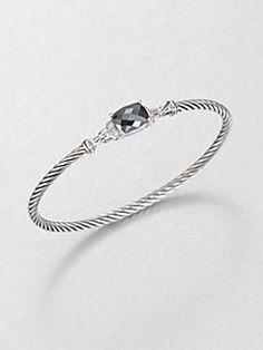 David Yurman - Hematite, Diamond & Sterling Silver Bangle Bracelet
