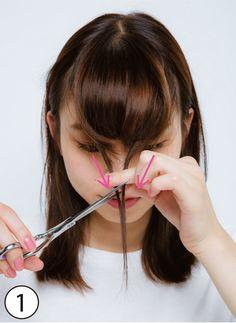 """前髪は小顔を叶える超・重要パーツ! セルフカット&スタイリングで実現できる""""小顔前髪""""を達人がレクチャー♪ 基本のカット&スタイリング術をベースに、顔形別に気をつけるコツを解説♪"""