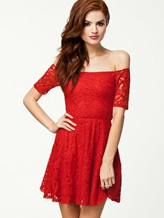 Off Shoulder Lace Dress - Pearl