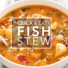 Quick easy and absolutely delicious fish stew! Fresh fish fillets cooked in a stew with onions garlic parsley tomato clam juice and white wine. Fish Dishes, Seafood Dishes, Seafood Recipes, Dinner Recipes, Cooking Recipes, Healthy Recipes, Cooking Fish, Cooking Games, Healthy Soup