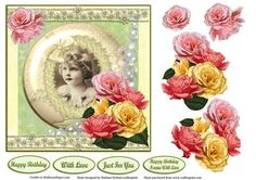 Roses Vintage Little Girl Card Topper Decoupage on Craftsuprint - Add To Basket!